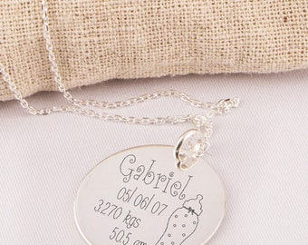 Special pendant engraved silver birthstone personalized - custom engraved jewelry