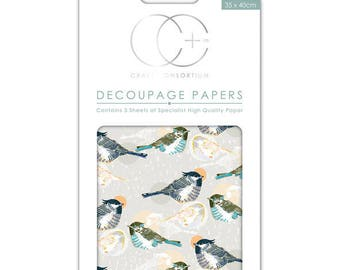 Paper patch (3 sheets) bird gray - CCDECP215