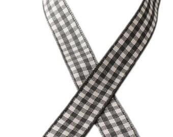 9 metres - gray - width 12mm gingham Ribbon
