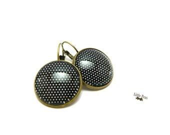 Black polka dot glass dome earrings white retro vintage