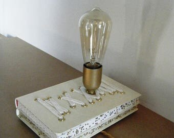 Lamp Edison book Corset and lace, Bohemian chic