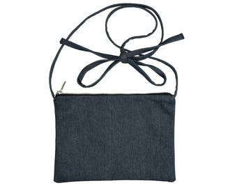 Fabric & blue denim fabric FANNY pouch floral Provence rose