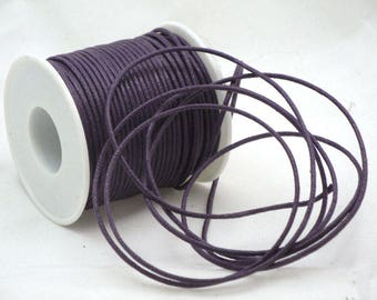 Purple 2 mm waxed cotton cord