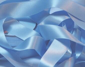 1.60 m 25 mm - 17 set sky blue satin ribbon