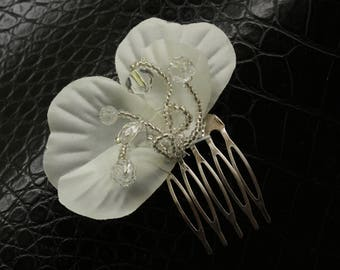 Bridal Headpiece, Silver Orchid
