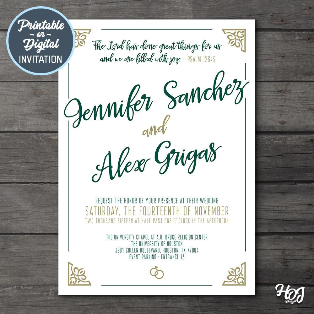 Digital Wedding Invitation Kit ? Green and Gold Wedding Invitation ...