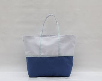 The bi-color light blue and blue cotton tote Navy with light blue sequins
