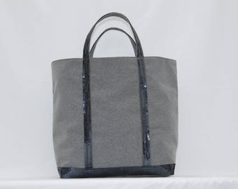 Tote bag in cotton blue gray with blue gray sequins