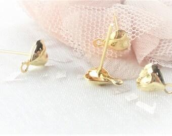 stud earring gold Stud, heart gold x 10