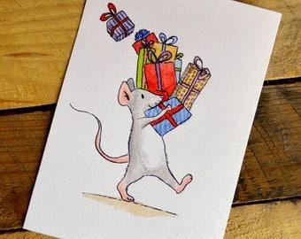 "Christmas post card ""Preparing gifts"" - watercolor Illustration"