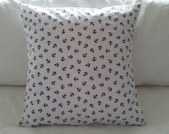 White and navy blue anchor nautical cushion cover
