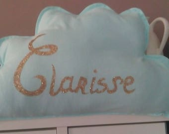 Cloud pillow personalized with the name of child