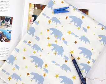 Star Polar bear 100% Cotton Fabric BY HALF YARD / Stars / bears animal / Scandinavian digital print / Ykfabrics DTP2/125+