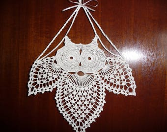 OWL crocheted handmade ecru Mercerized cotton