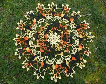 Yellow and multicolored cotton handmade lace doily.