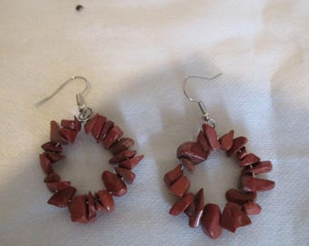 "hoop earrings with imitation ""goldstone chips beads"