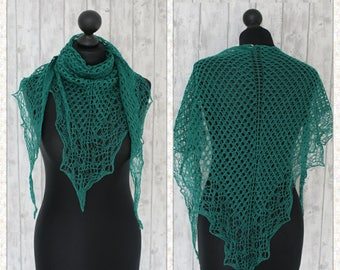 Handknit lace scarf in green