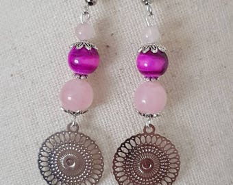 Pink jade and agate bead silver metal hook earrings
