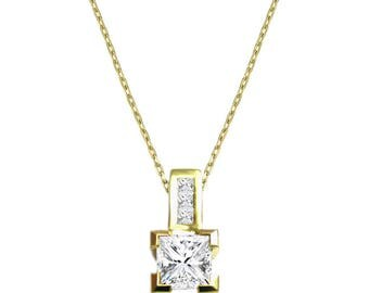 Princess Pendant, 14K - 18K Gold + diamonds