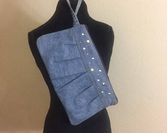 Upcycle denim jean pleated cluch purse