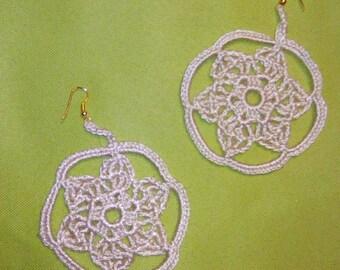 Earrings Creole cream rosette made of viscose yarn