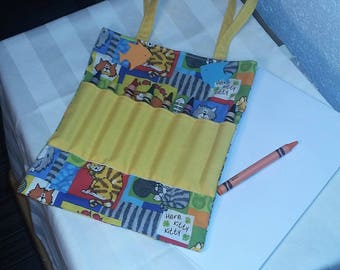 Handcrafted Coloring Bags for Children - Cats (Crayons and Tablet Included