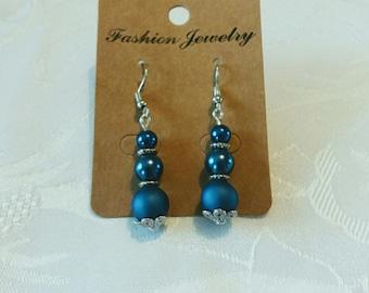 Trio of blue beads earrings