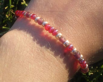 Gold Pink Purple Glass Bead Bracelet