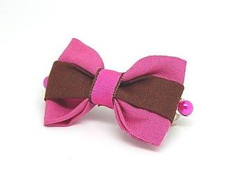 Hair bow, fuchsia and Brown fabric