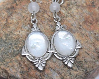 """Earrings """"White Elf"""" in Jasper prints in brass Silver Filled (Sterling/Sterling) and then aged & weathered with anti-tarnish treatment"""