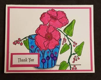 Thank you card, flower card, floral card, flower pot