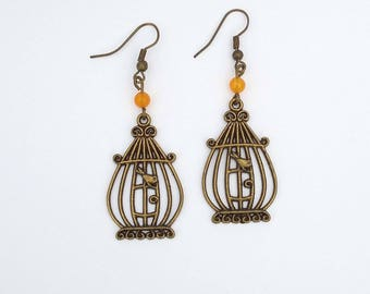 Earrings charm cage and pearls