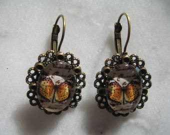 beautiful earrings vintage mustard butterflies