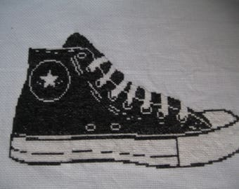 embroidery basketball moire and white