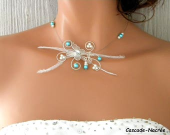 Butterfly Juline 3D wedding turquoise Ivory Pearl bridal necklace