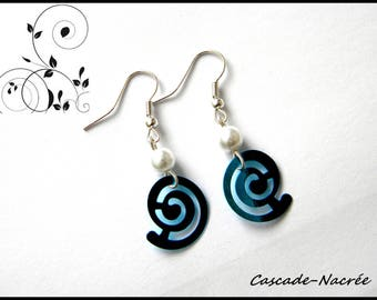 spiral turquoise white bridal wedding Pearl Earrings Pearl
