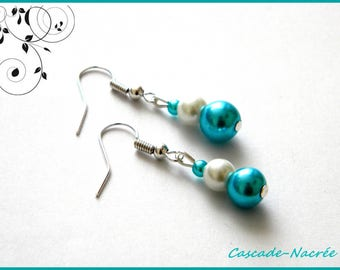 turquoise white bridal wedding Pearl Earrings Pearl