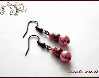 chocolate pink bridal wedding Pearl Earrings Pearl