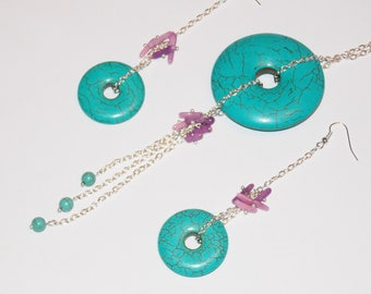 Turquoise coral stone set