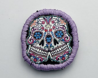 sugar skull patch iron on halloween handmade patches