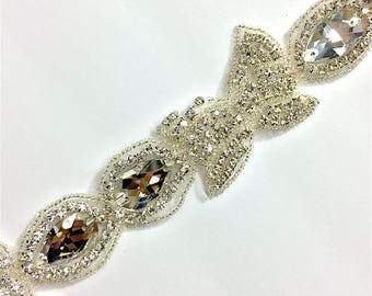 "2""  Crystal Beaded rhinestone trim Silver #QRGY6186"