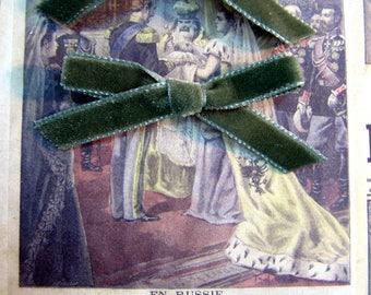 Green Velvet bow retro vintage scrapbooking