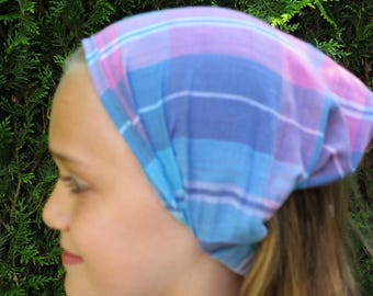 Pink Purple blue madras cotton KERCHIEF/scarf for girl