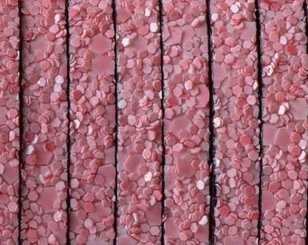 Leather, synthetic flat pulled - 5mm - with effects, pink and black - by 20cm - CPUPL516RO051 edges