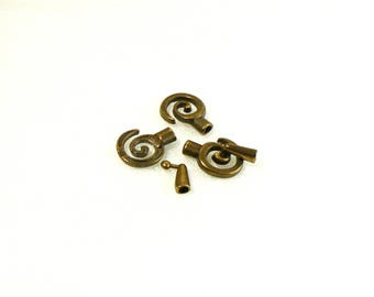 Hook clasp - Maze - Metal Zamak for 3.5 mm cord - antique Bronze