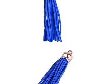 Tassel pendant charms - Synthetic (10cms) - dark electric blue and gold light pink