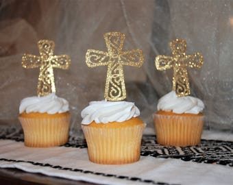 Cross cupcake toppers, baptism, first communion