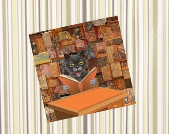 square card with cat: digital creation, library cat
