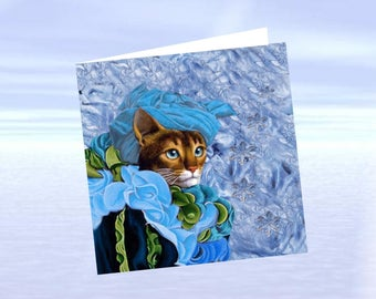 Cat, cat art card greeting card: my little Venetian Princess in blue
