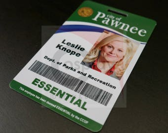 Parks And Recreation Cosplay Employee ID Badge, Leslie Knope, Ron Swanson, Andy Dwyer